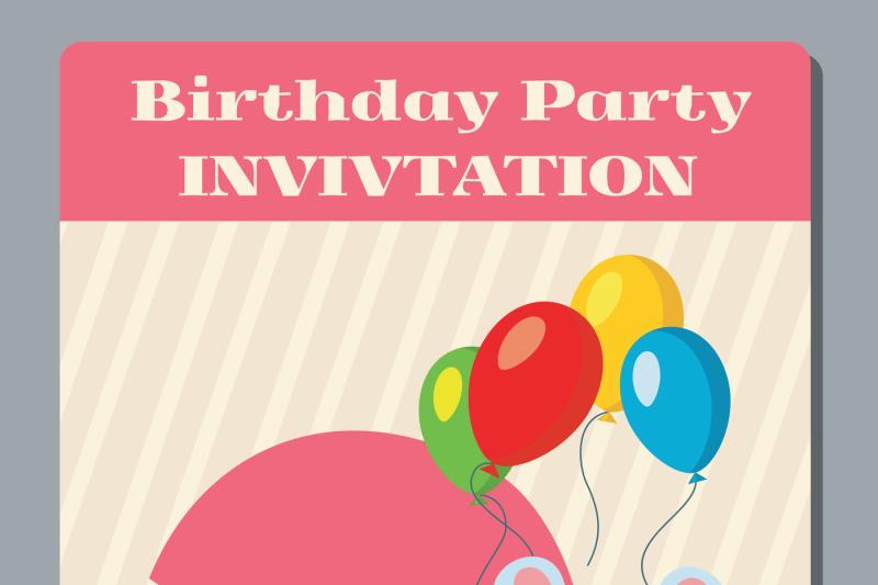 birthday-anniversary-party-invitation-card-with-cute-rabbit-vector-tem