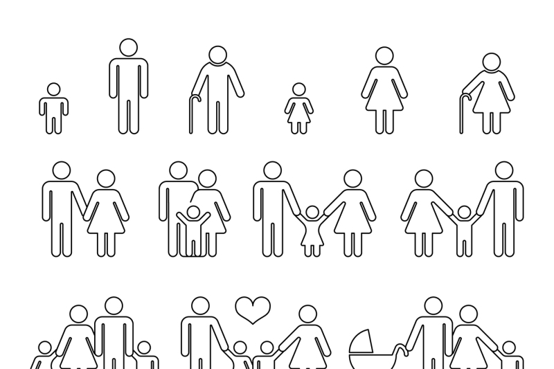 family-human-thin-line-outline-vector-icons