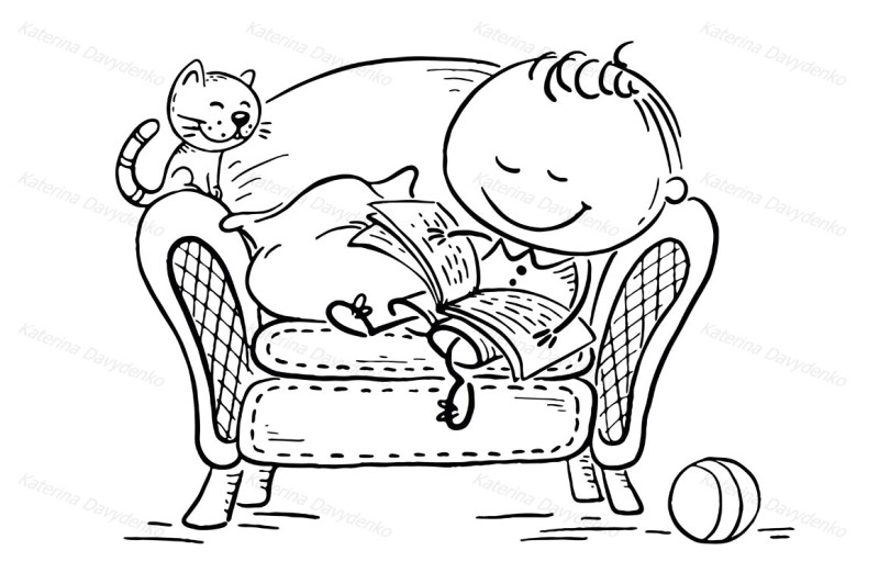 little-child-reading-a-book-in-an-arm-chair-with-his-cat