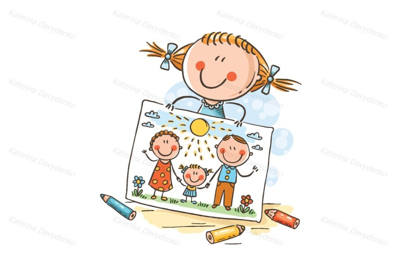 little-girl-has-drawn-a-picture-of-her-family