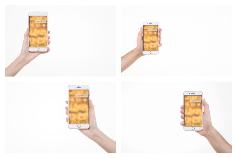 Free Set of 4 iPhone 8 plus mockups (PSD Mockups)