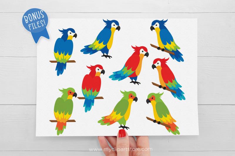 tropical-parrots-clipart-summer-clipart-vector-sublimation-svg
