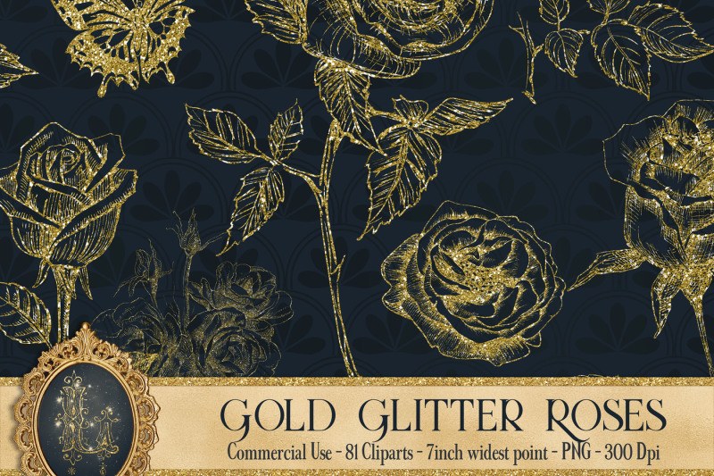 gold-glitter-rose-81-clip-arts-set-fairy-glitter-flowers