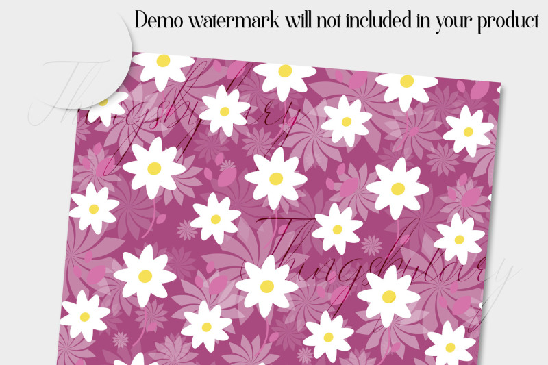 12-daisy-flower-digital-paper-in-deep-ruby-theme-color