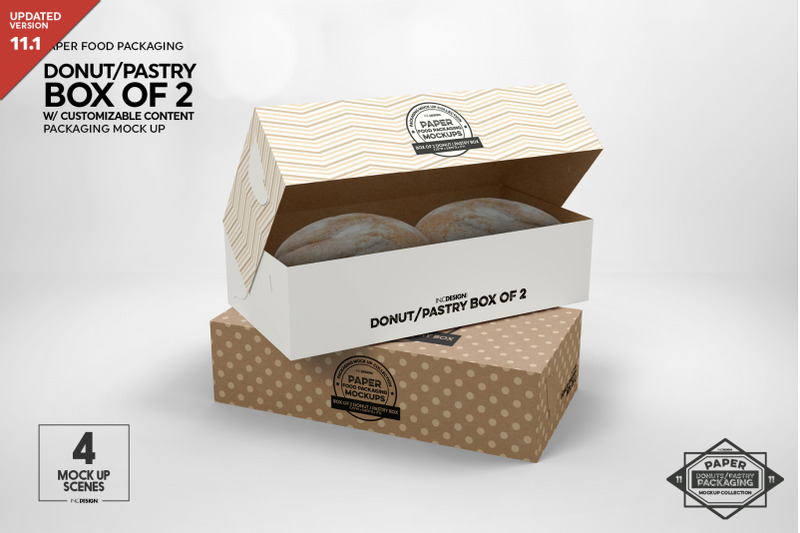 Free Box of Two Donut Pastry Box Mockup (PSD Mockups)