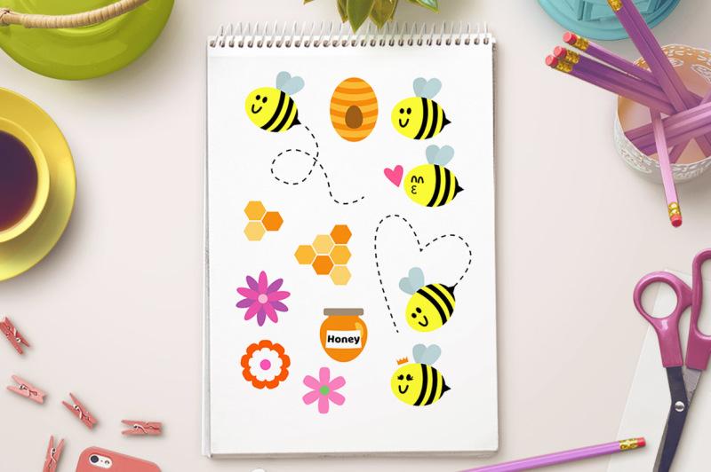 bee-clipart-bug-clipart-summer-clipart-queen-bee-graphics