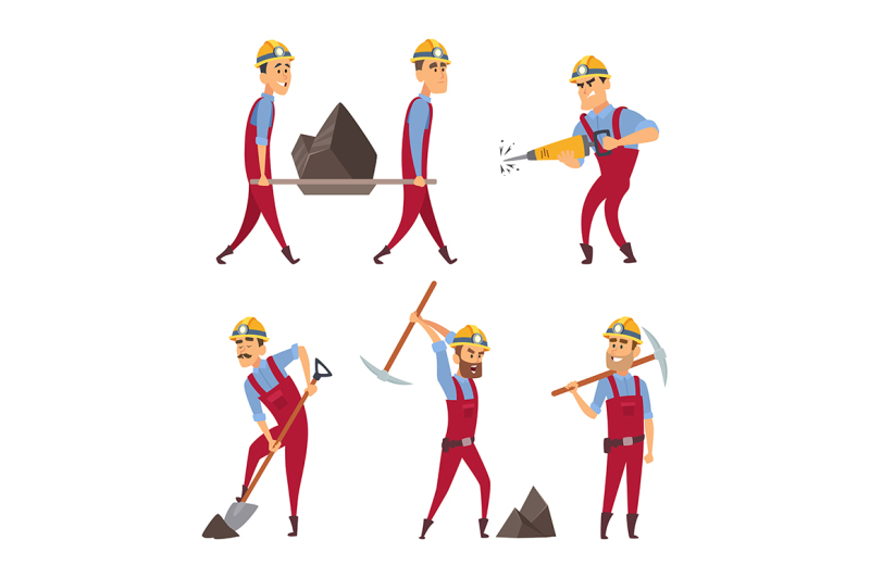 set-of-working-people-miners-in-different-action-poses