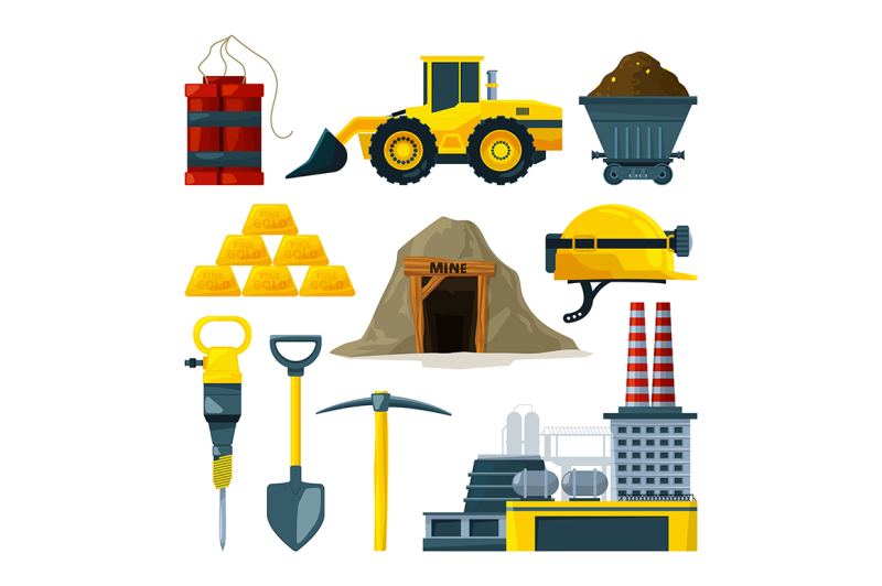 vector-tools-for-gold-mining-and-minerals
