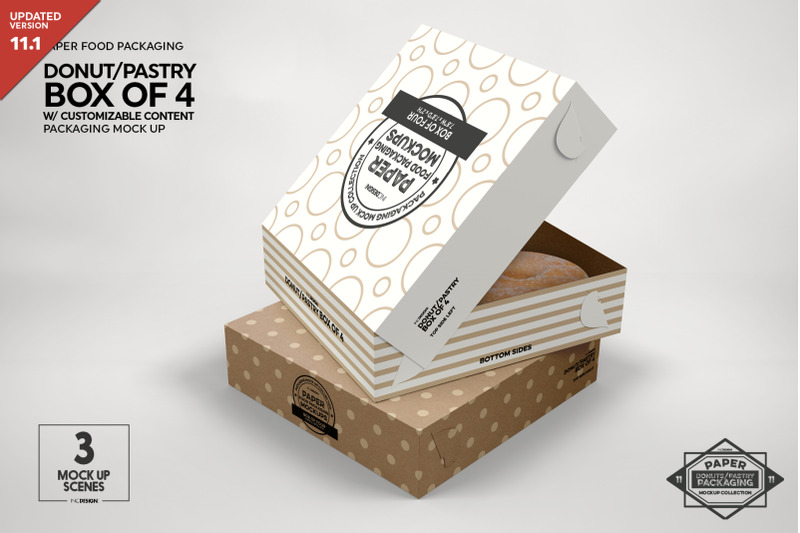 Free Box of Four Donut Pastry Box Mockup (PSD Mockups)