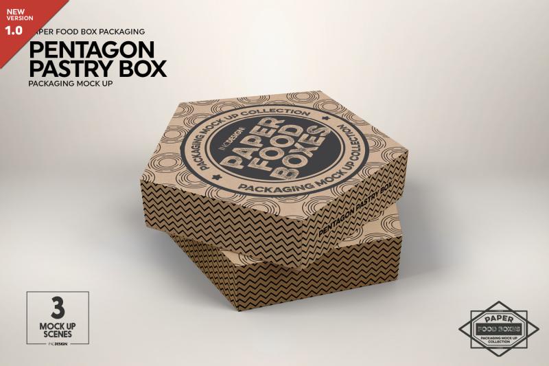 Free Pentagon Pastry Box Mockup (PSD Mockups)