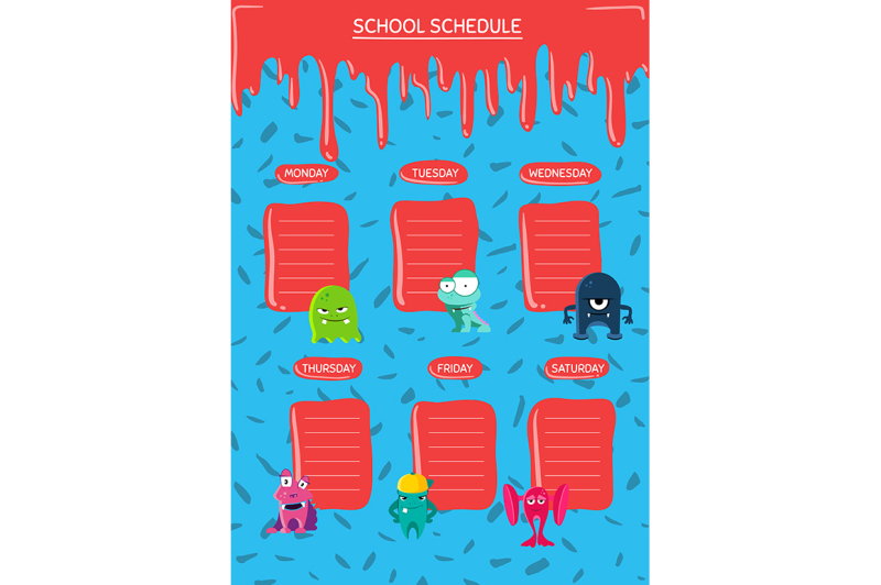 vector-school-schedule-with-cartoon-monsters-with-paint-stains