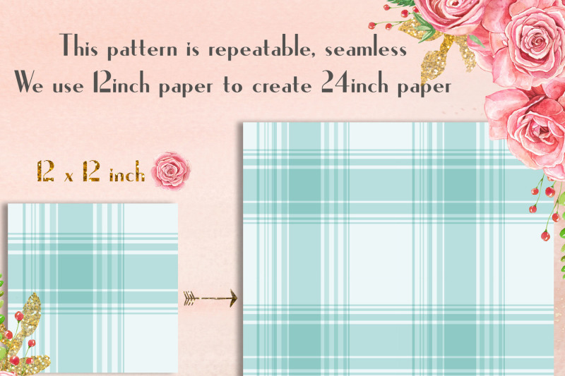 24-turquoise-plaid-digital-papers-tartan-gingham-check