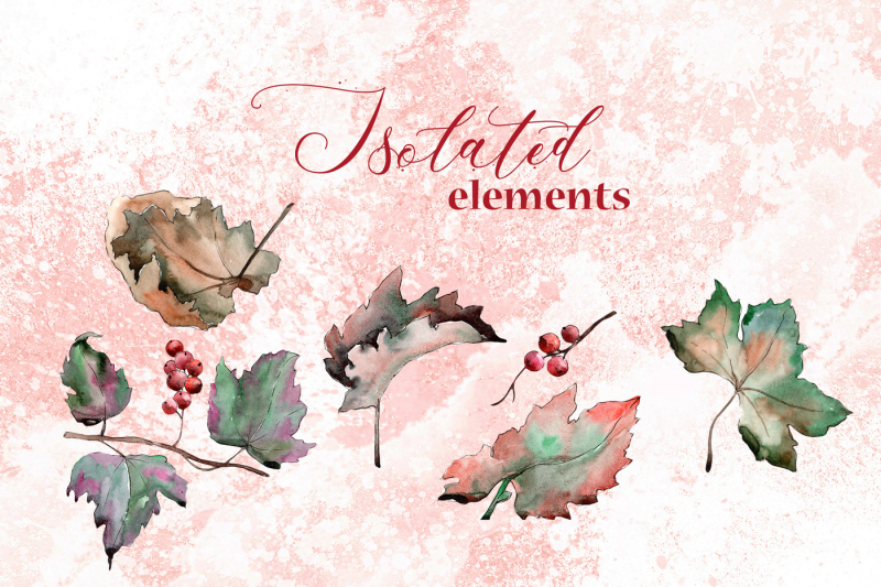leaves-currant-png-watercolor-set-nbsp