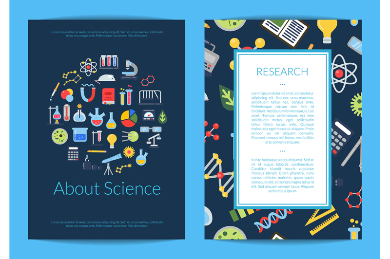 vector-card-or-flyer-template-with-flat-style-science-icons-and-place
