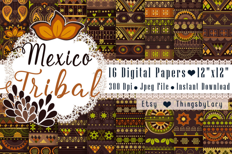 16-seamless-mexico-tribal-digital-papers-cinco-de-mayo