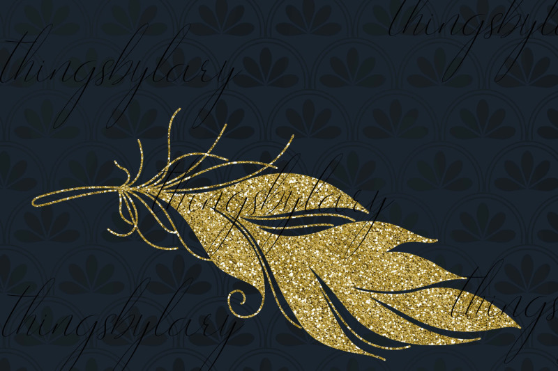 16-gold-glitter-feather-overlay-clip-arts-boho-feather