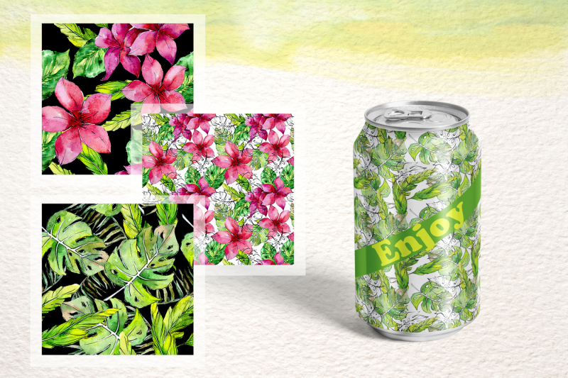 tropical-leaves-collection-png-watercolor-set