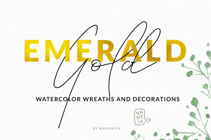 emerald-gold-watercolor-wreaths