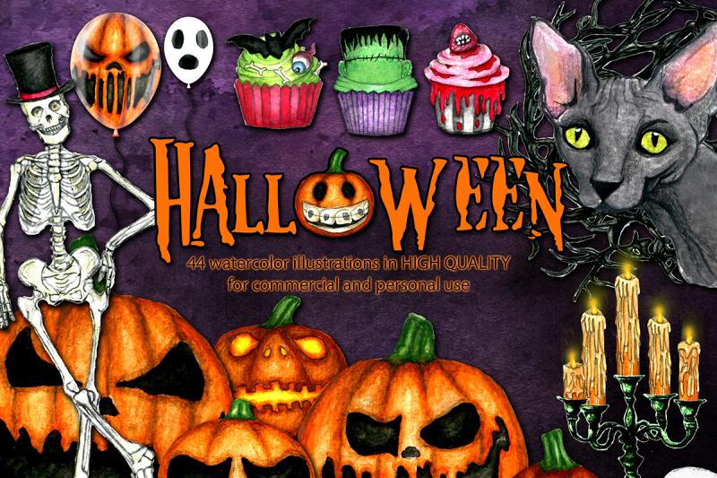 big-halloween-watercolor-bundle-watercolor-halloween-clipart