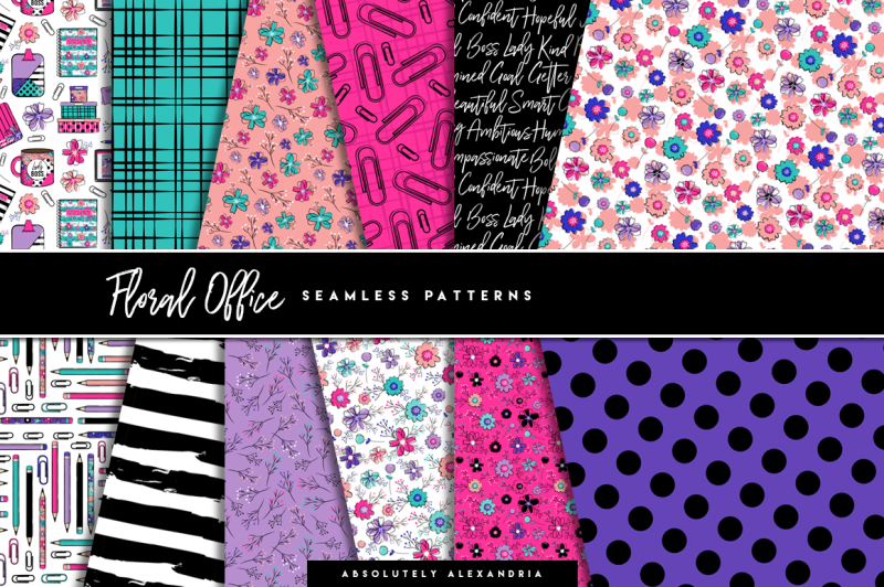 floral-office-clipart-illustrations-and-seamless-paper-patterns-bundle