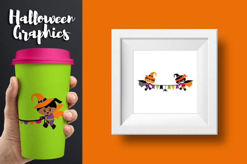 Superhero Banners Halloween Clipart Graphics By ...