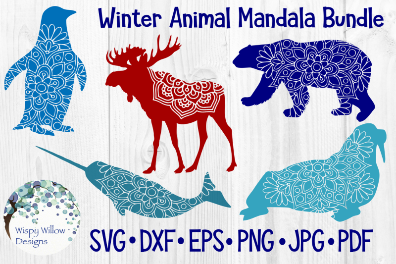 winter-animal-bundle-penguin-moose-polar-bear-narwhal-walrus