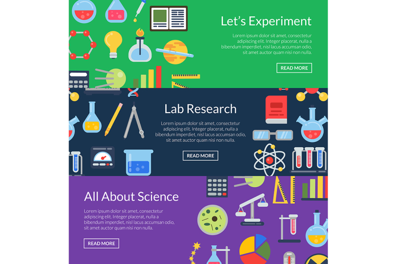 vector-web-banner-templates-with-flat-style-science-icons