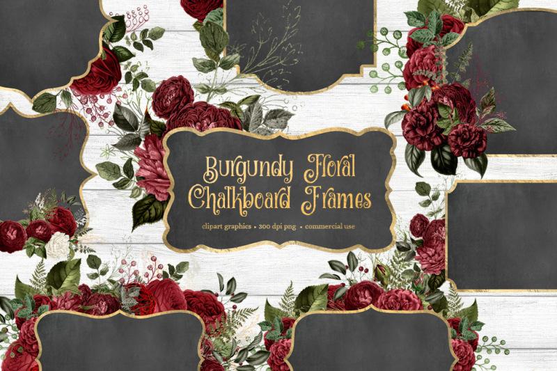 burgundy-floral-chalkboard-frames