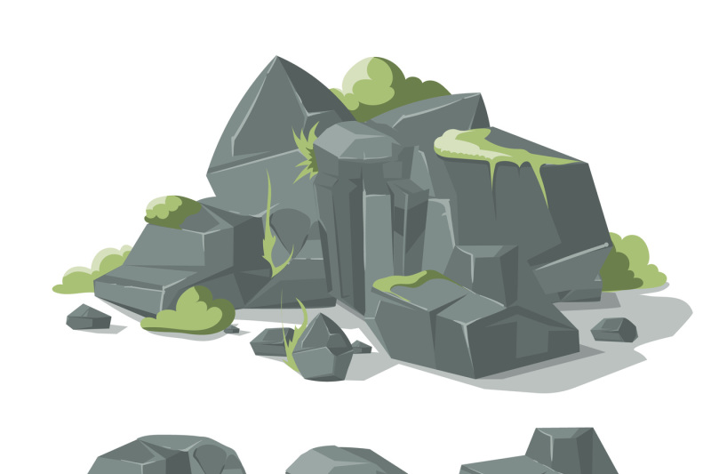 stones-and-rocks-cartoon-vector-nature-boulder-with-grass-moss