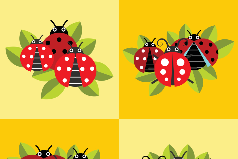 ladybugs-on-green-leaves-yellow-background