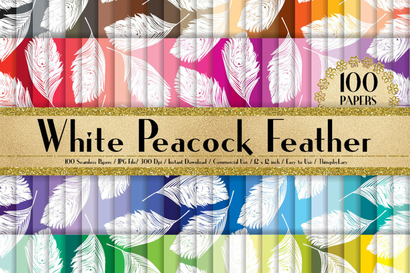 100-seamless-white-peacock-feather-digital-papers-12-x-12-in