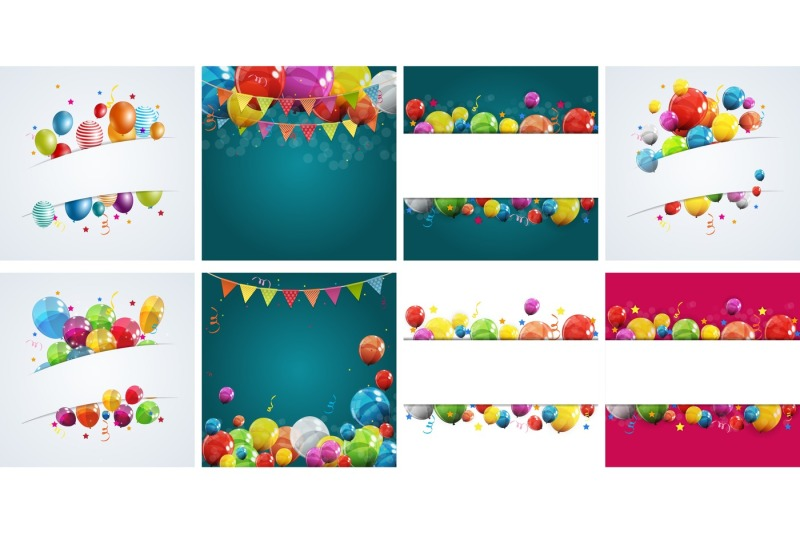 8-color-glossy-happy-birthday-balloons-banner-background-vector