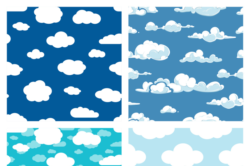 blue-sky-and-white-clouds-seamless-patterns-set