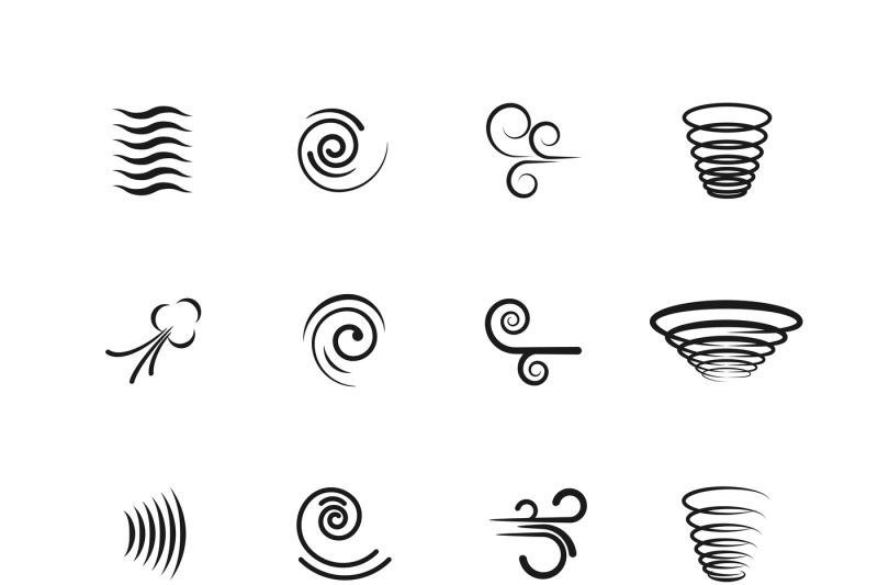 wind-motion-vector-icons-set