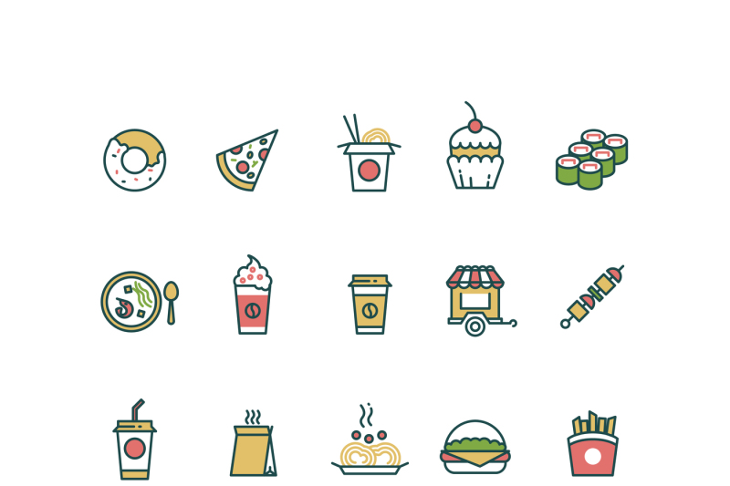 outline-fast-food-vector-icons-with-flat-color-elements