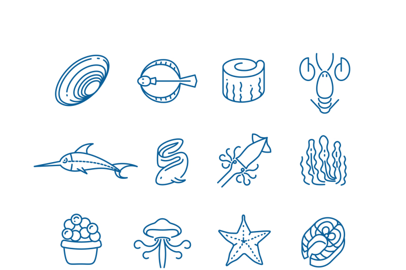 seafood-fish-thin-line-vector-icons