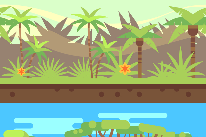 horizontal-seamless-tropical-forest-jungle-background-in-cartoon-flat