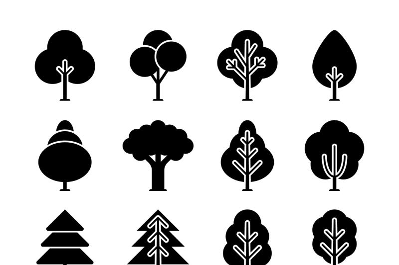 vector-black-tree-icons-set