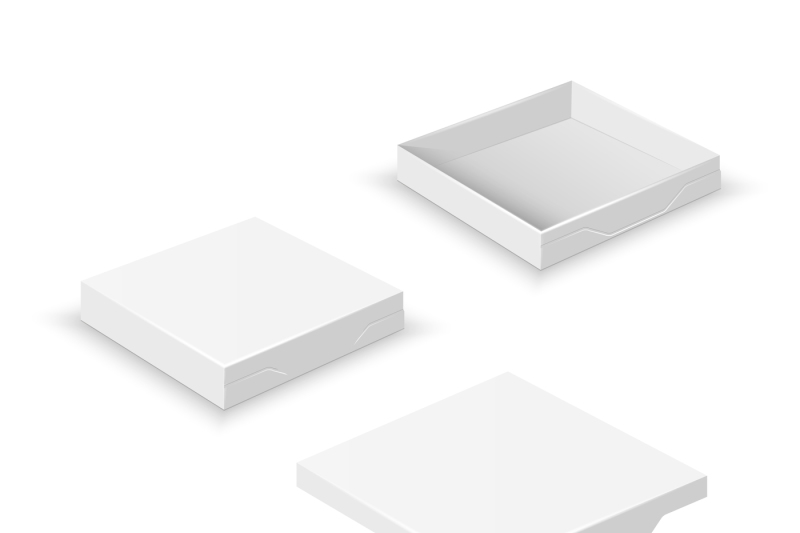 white-square-flat-empty-3d-boxes-isolated