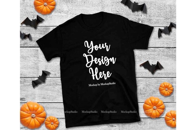 Free Halloween Black T-Shirt Mockup, Gildan 64000 Tshirt Fall Flat Lay (PSD Mockups)
