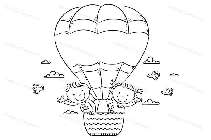 cartoon-kids-travelling-by-air-with-copy-space-across-the-balloon