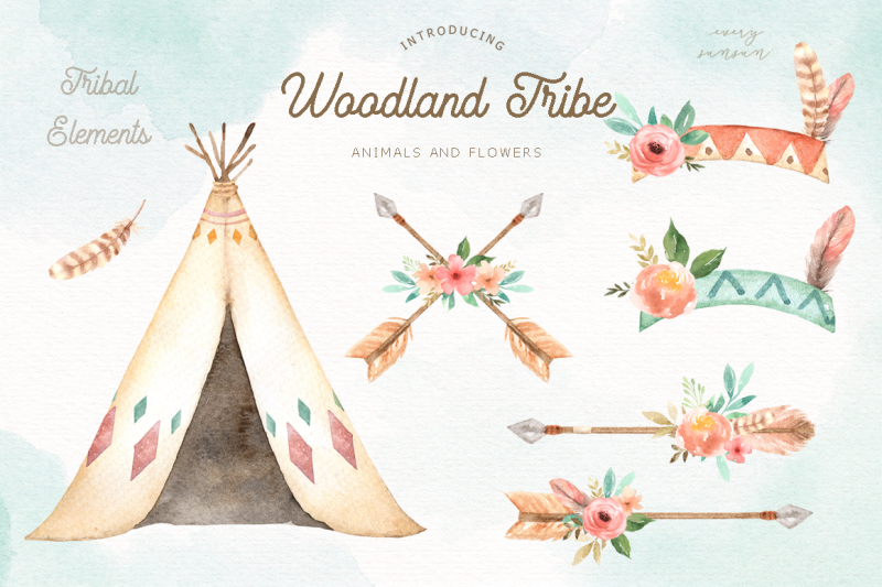 woodland-tribe-watercolor-clip-art