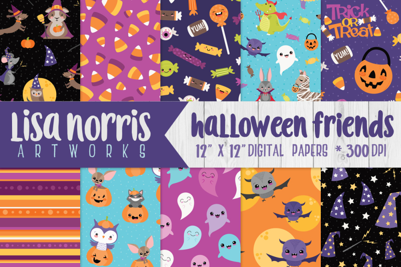 halloween-friends-digital-papers