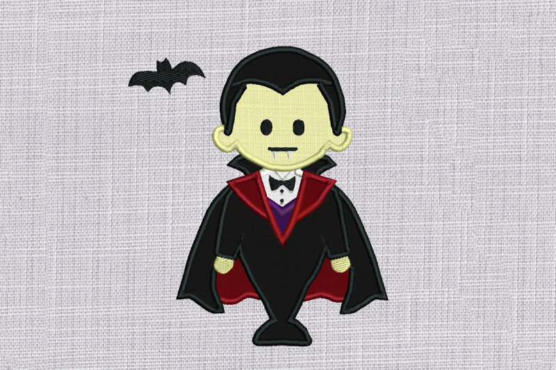 cute-vampire-with-bat-applique-embroidery