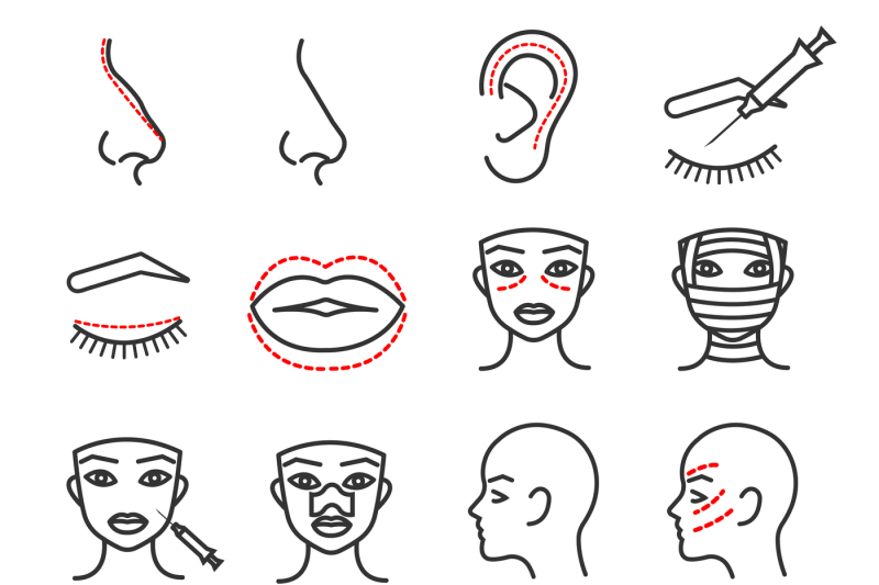 cosmetic-plastic-face-surgery-vector-thin-line-icons-set