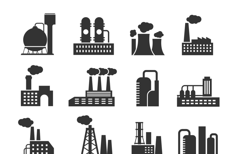 industrial-factory-and-plant-buildings-vector-icons-set