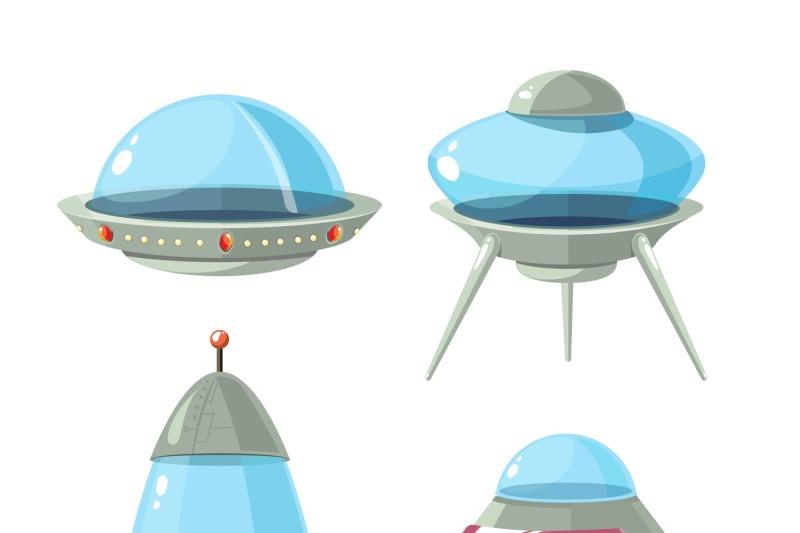 cartoon-alien-spaceship-spacecrafts-and-ufo-vector-set