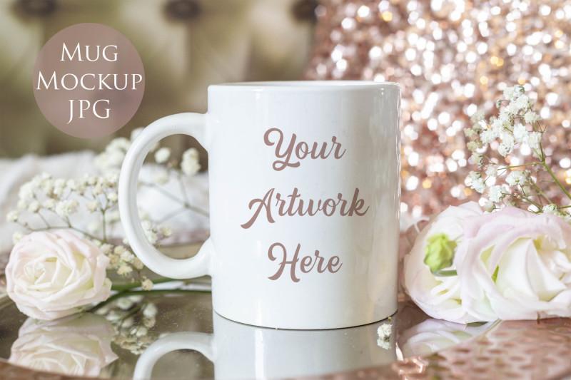Free Mug mockup - Elegant rose gold (PSD Mockups)