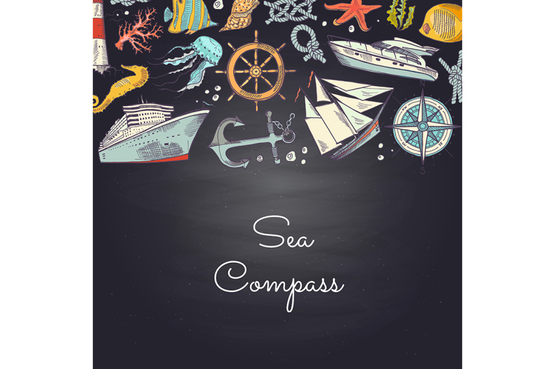 vector-sketched-sea-elements-in-color-background-with-place-for-text