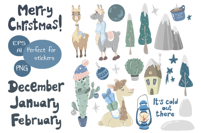 merry-christmas-llamas-vector-kit